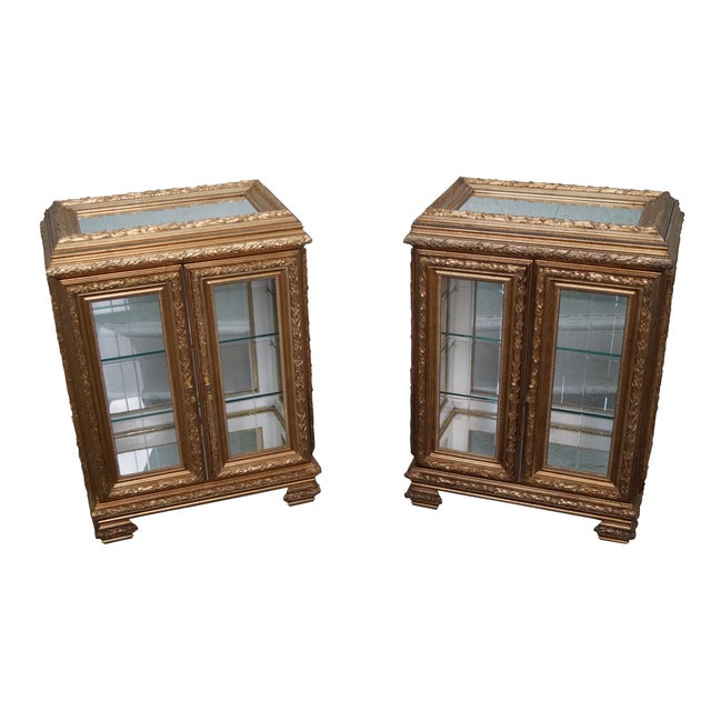 Gilt French Louis XV Vitrine End Tables - Pair - Image 1 of 10