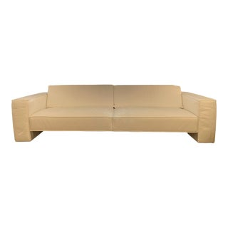 "White Leather Sofa ""Ken"" For Sale"