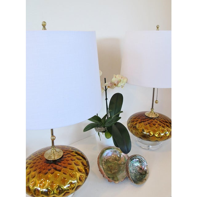 Vintage Gold Mercury Murano Glass Lamps - A Pair - Image 5 of 7