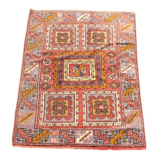 "Vintage Turkish Anatolian Wool Rug - 4'6""x6' For Sale"