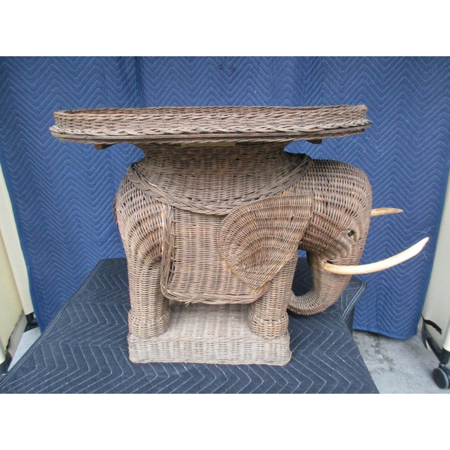 Brown 20th Century Boho Chic Wicker Elephant Side Table For Sale - Image 8 of 8