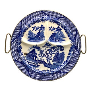 Vintage Blue Willow Ceramic Divided Grill Food Warming Plate For Sale