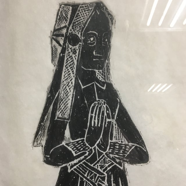 Medieval Brass Rubbing of Tombstone With Old English Inscription, Framed For Sale - Image 4 of 9