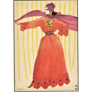Matted Mid-Century Christian Dior Fashion Print by Gruau For Sale