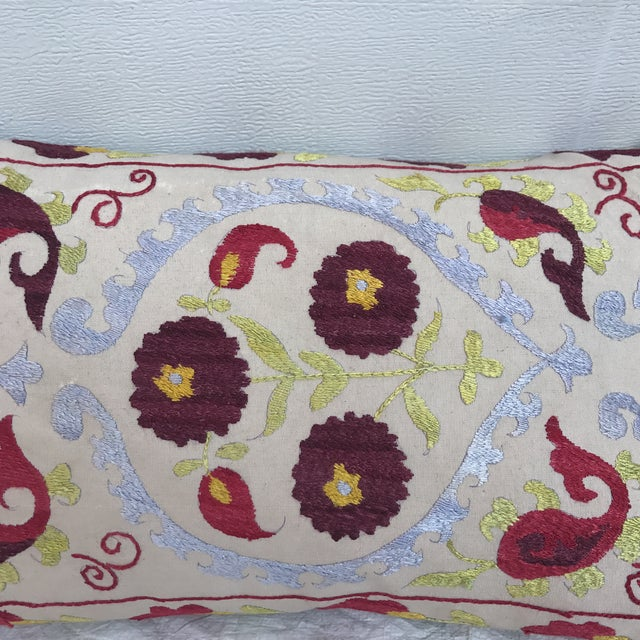 Asian Antique Embroidered Suzani Pillow For Sale - Image 3 of 11