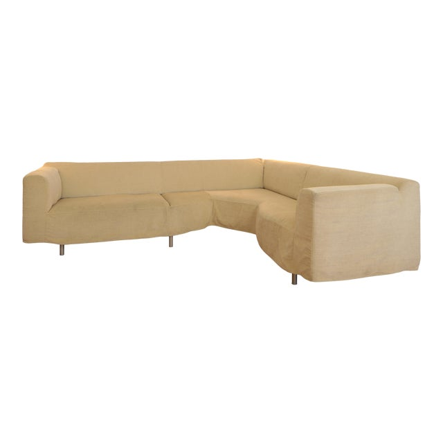 Cassina Champagne Twill L- Shaped Couch For Sale