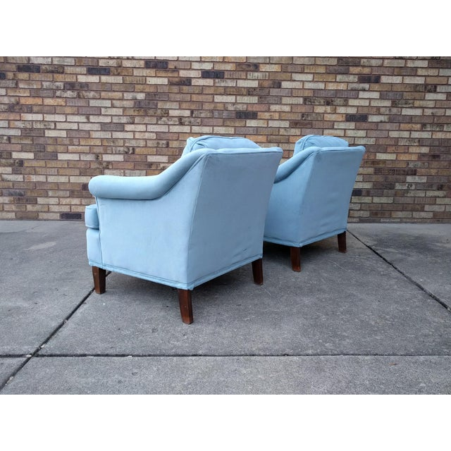 Vintage Blue Velvet Rolled Arm Club Chairs by Sam Moore Furniture - A Pair - Image 5 of 11