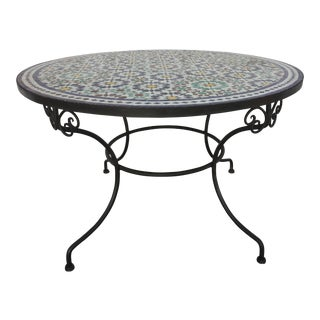 Moroccan Fez Moorish Design Round Mosaic Outdoor Tile Table For Sale