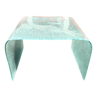 Frosted Green Glass Waterfall Side Table For Sale