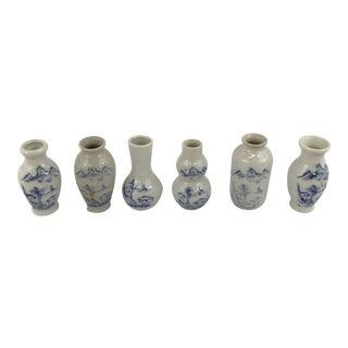 Vintage Blue and White Porcelain Garniture Box Set of 6 For Sale