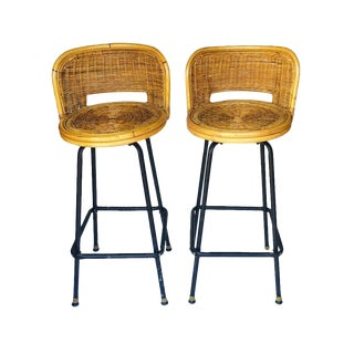 1960s Vintage Rattan Bent Bamboo Barrel Back Swivel Barstools - a Pair For Sale
