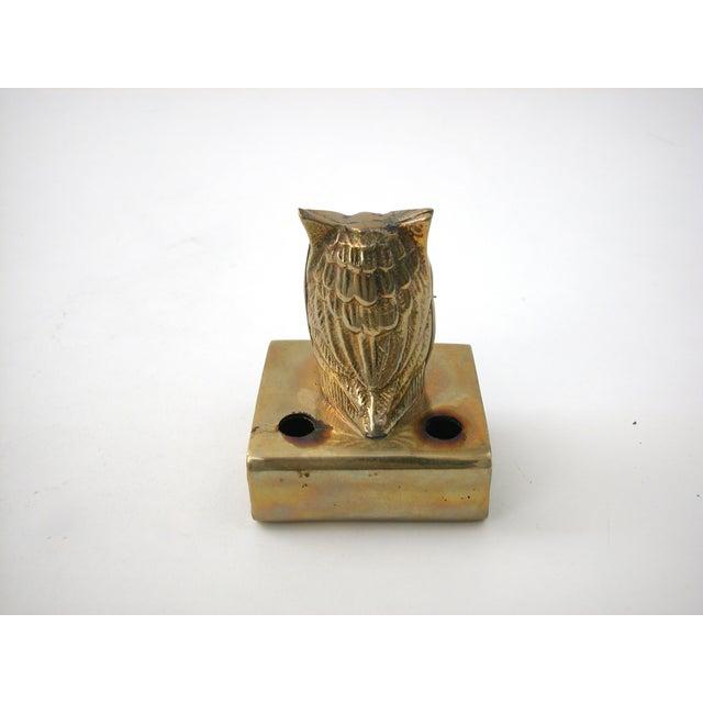 Vintage Brass Owl Pen Holder - Image 6 of 8