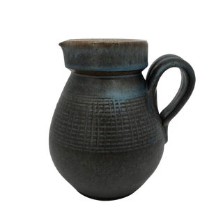 Blue Brown Mid-Century Stoneware Pottery Pitcher For Sale