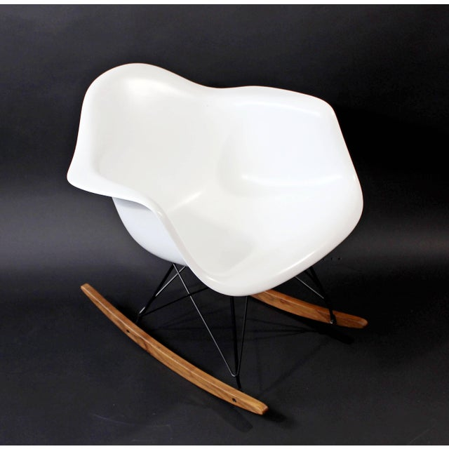 For your consideration is a vintage 1970s, Eames for Herman Miller, rocking chair with a recently painted white,...