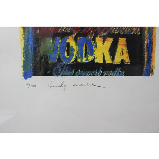 This stylish and iconic limited edition lithograph of an Absolut Vodka bottle was created after Andy Warhol in 1986. The...