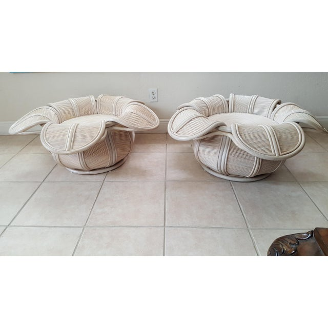 Mid-Century Modern 1970s Hollywood Regency Rattan Pencil Reed Bell Flower Coffee Tables - a Pair For Sale - Image 3 of 11