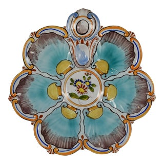St. Clément French Faïence Turquoise Floral Oyster Plate