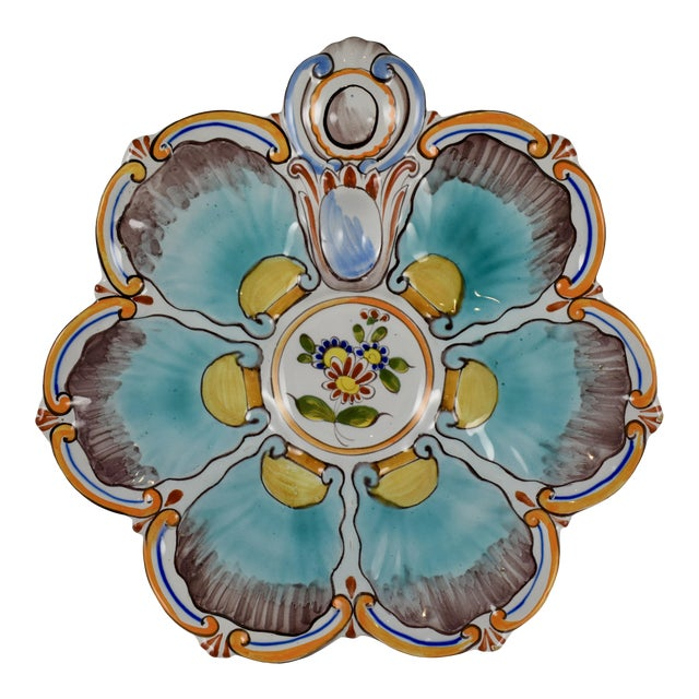 St. Clément French Faïence Turquoise Floral Oyster Plate For Sale