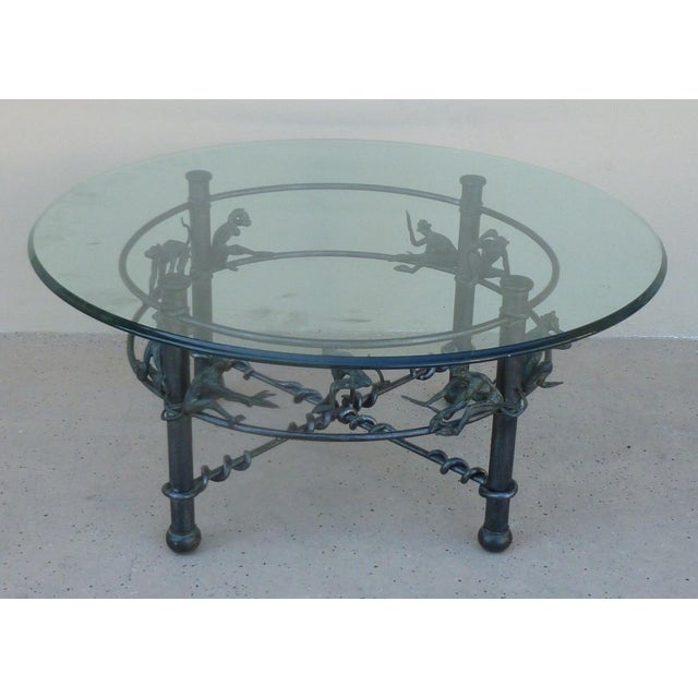 Vintage Wrought Iron Monkeys Coffee Table For Sale - Image 4 of 10