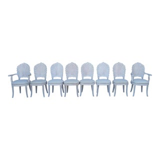 Vintage Grotto Style Shell Back Dining Chairs - Set of Eight For Sale