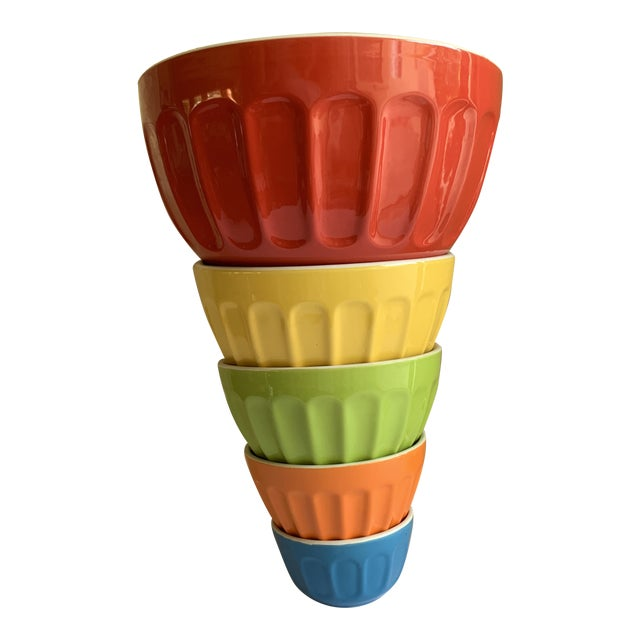 Colorful Set of Five Assorted Nesting Bowls For Sale