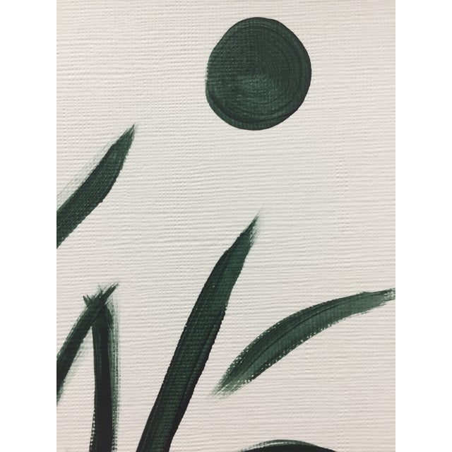 Abstract Minimalist Botanical Acrylic on Canvas Paper Painting For Sale - Image 3 of 4