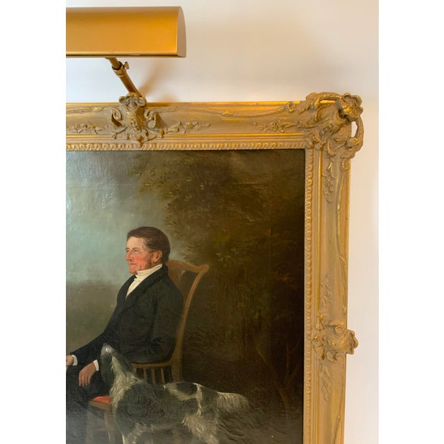 19th Century 19th Century Portrait of a Distinguished Gentleman with Dog Oil Painting, Framed For Sale - Image 5 of 13