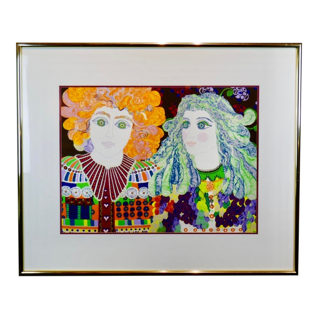 1960s Mid-Century Modern Signed & Numbered Eakman Lithograph, 2 Hippy Chicks For Sale