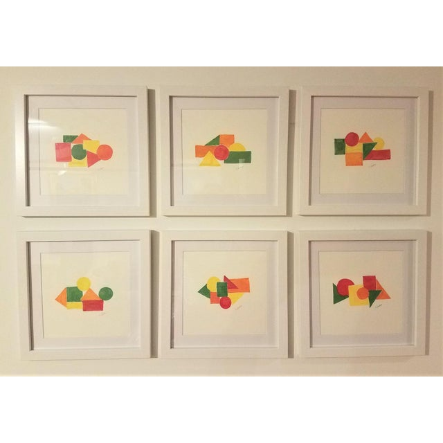 Geometric Hand Painted Framed Acrylics by Christine Frisbee - Set of 6 For Sale - Image 9 of 9