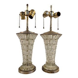Early to Mid 20th Century Molded Glass Table Lamps for Restoration C.1940 - a Pair For Sale