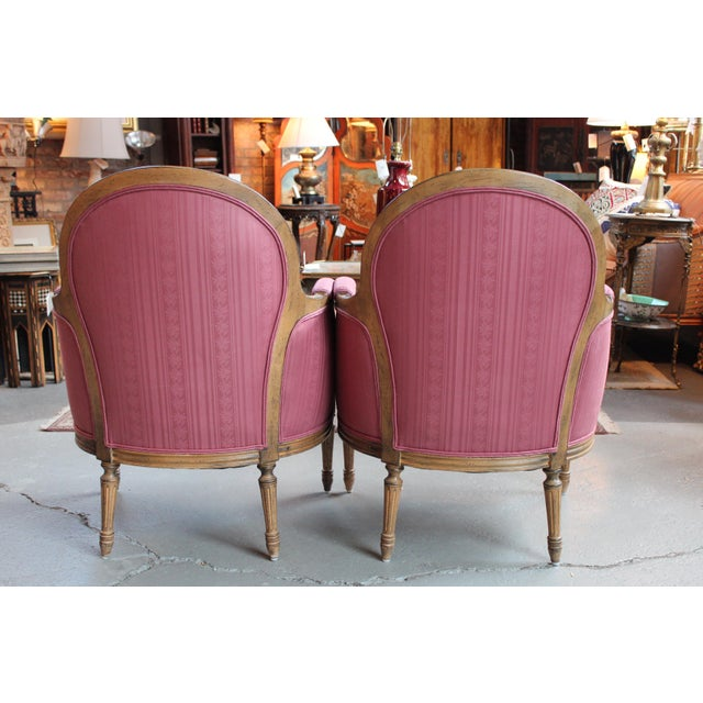 Vintage French Louis XVI Style Bergeres - Pair - Image 4 of 8