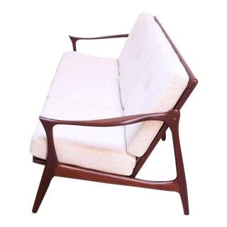 Danish Modern Sculptural Rosewood Sofa With Slat-Back Construction For Sale