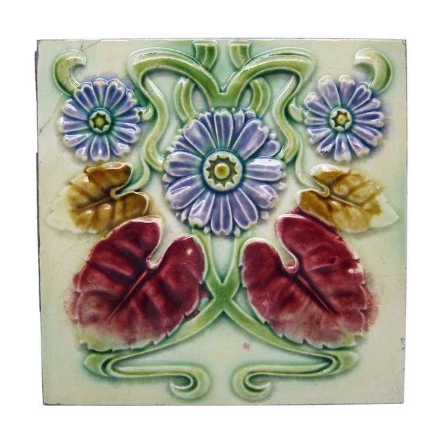 Floral Decorative Colorful Art Nouveau Tiles - Set of 15 For Sale - Image 10 of 10
