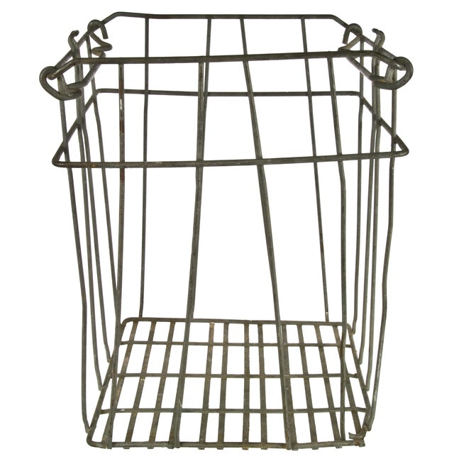 Vintage Tall Galvanized Wire Stackable Egg Crate For Sale