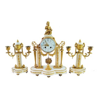 19th C French White Marble & Dore Gilt Bronze Clock and Candelabra Set - 3 Pieces For Sale
