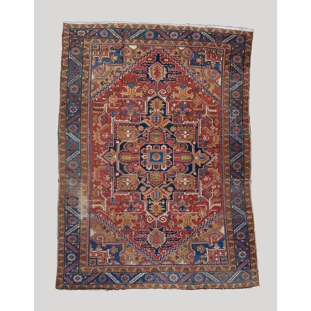Late 19th Century Heriz Medallion Carpet For Sale - Image 5 of 5