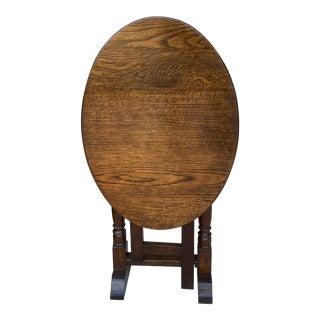 Antique English Oval Gateleg Oak Trestle Flip Top Table For Sale