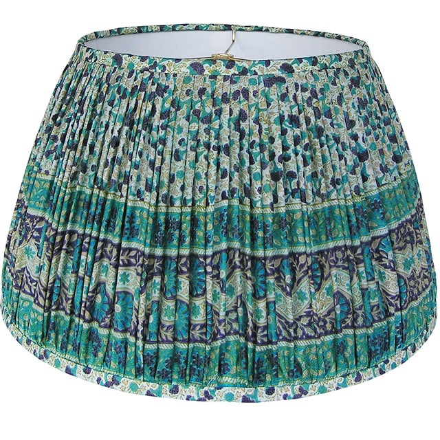 Teal/Navy Silk Sari Lamp Shade For Sale - Image 4 of 4