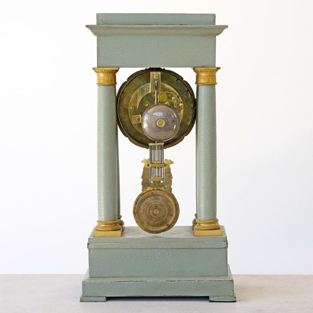 Empire Mid 19th Century French Empire Portico Gridiron Mantle Clock For Sale - Image 3 of 8