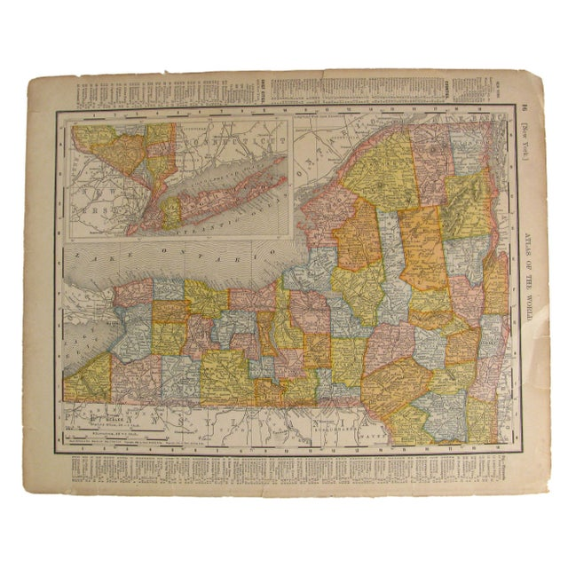 Rand McNally & Co. Antique Map of New York & Connecticut C. 1909 For Sale - Image 4 of 4