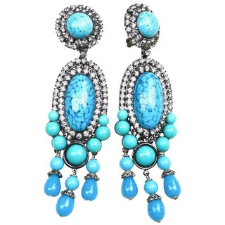 Turquoise Blue Larry Vrba Earrings For Sale