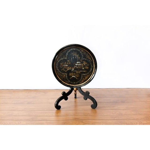 Up for sale is a 1880s Round Chinoiserie Occasional Table Weight: 13 lbs Dimensions (in inches): 20.5 round x H 19.5