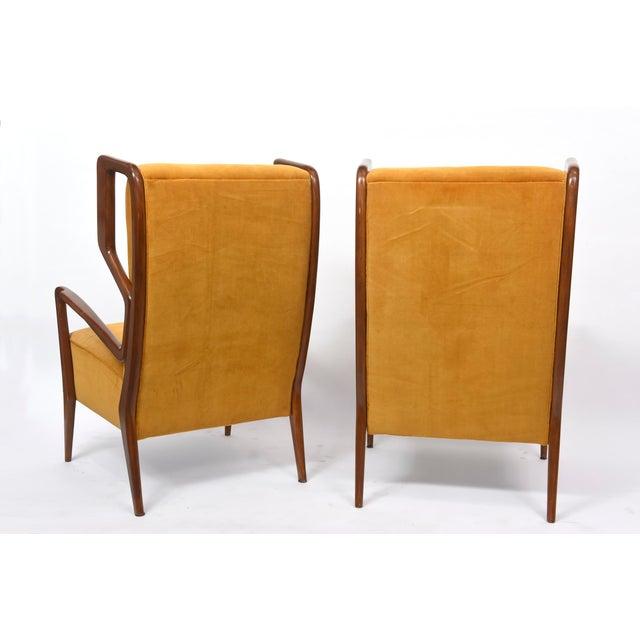 Modern Rare Pair of Italian Modern Walnut Armchairs, Orlando Orlandi For Sale - Image 3 of 11
