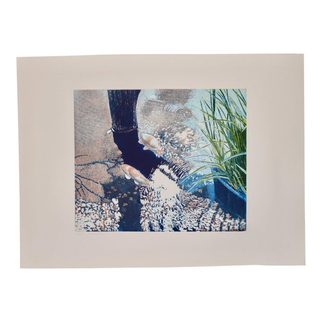 """Vintage Koi Pond """"Second June"""" Etching W/ Aquatint by Thadd Evans C.1986 For Sale"""