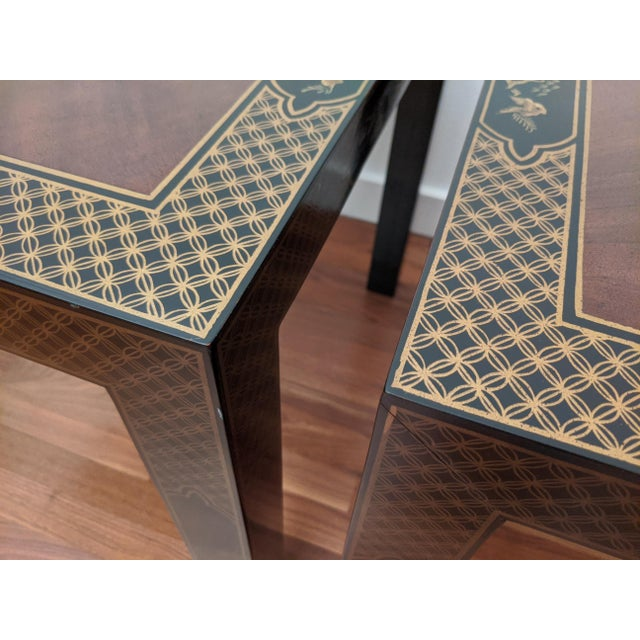 Metal 1980s Parsons Chinoiserie Side Tables, a Pair (Drexel - Et Cetera Collection) For Sale - Image 7 of 12