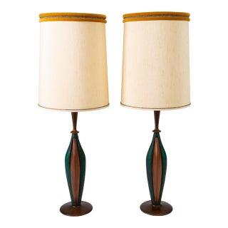 Tall Table Lamps in Walnut and Resin by Moderna - a Pair For Sale