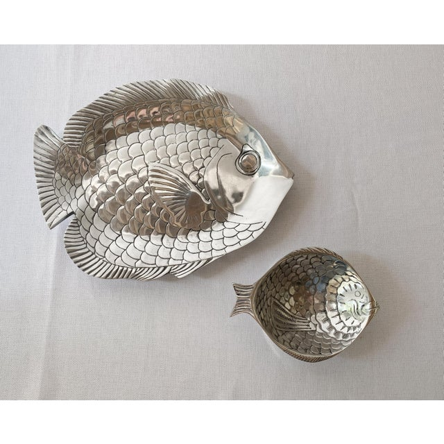 Pewter Fish Platter and Bowl Set - Set of 2 For Sale - Image 10 of 10