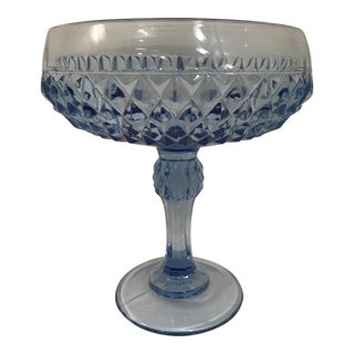 1970s Vintage Anchor Hocking Blue Diamond Point Compote Bowl For Sale