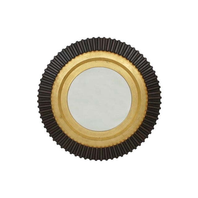 1970s Circular Black and Gold Wood Wall Mirror For Sale