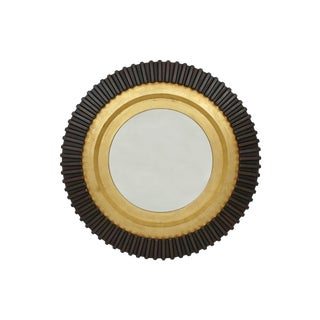"""Burgess"" Circular Black and Gold Gilt Wood Wall Mirror For Sale"